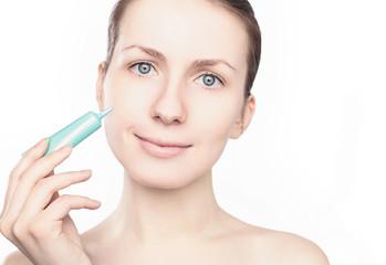 Woman applying cream, beauty, health skin - concept