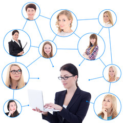 young business woman with laptop and her social network isolated