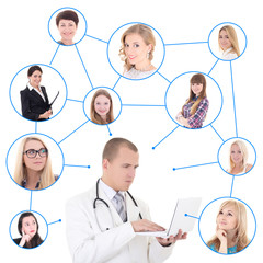 social network concept - young male doctor with laptop and his p