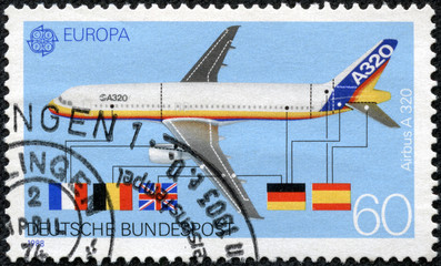 stamp printed in the Germany shows Airbus A320
