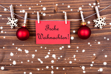Red Label with Frohe Weihnachten