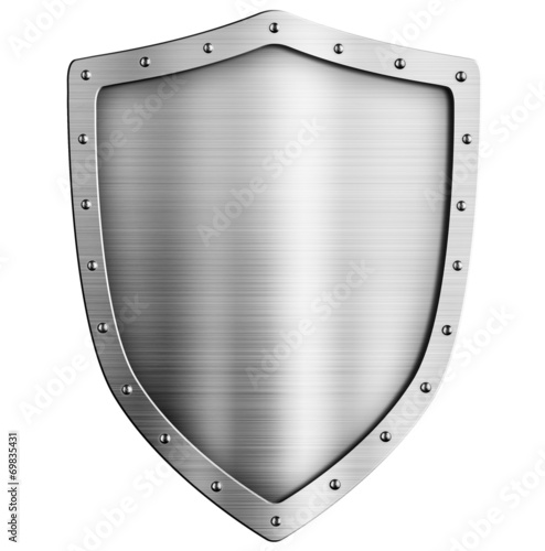 golden metal shield isolated on white - 69835431