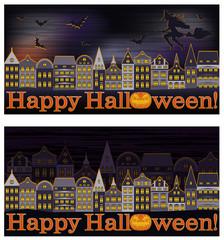 Happy Halloween banners, vector illustration