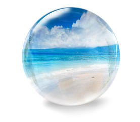 glass ball with sea