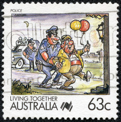 stamp from Australia shows image celebrating the police