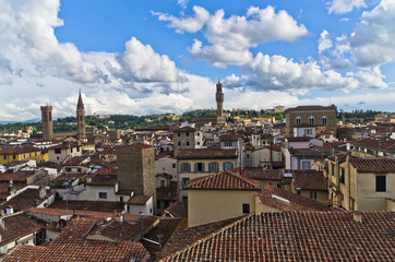 Bird eye panoramic view of Florence from a tower, Tuscany