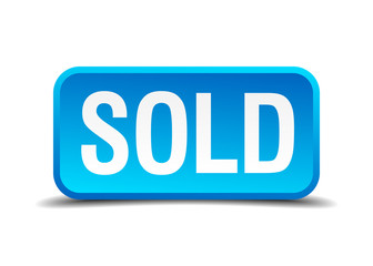 Sold blue 3d realistic square isolated button