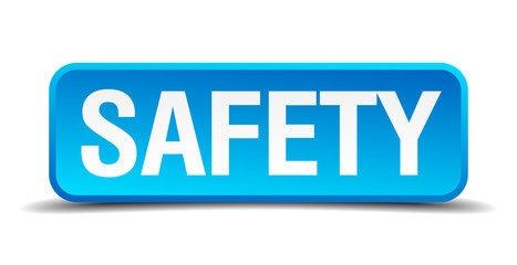 Safety blue 3d realistic square isolated button
