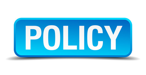 Policy blue 3d realistic square isolated button