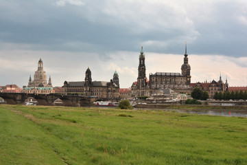 Dresden city monuments, view from riverbank Elbe