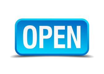 Open blue 3d realistic square isolated button