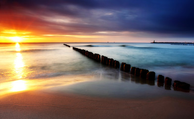 Baltic sea in Poland beach.