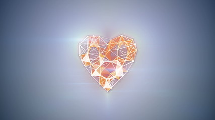 network technology heart shape animation