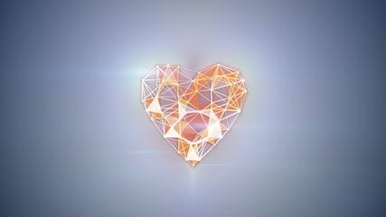 network technology heart shape animation