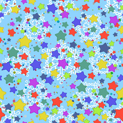 Seamless pattern, stars and snowflakes