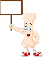 Strong bone cartoon character holding blank sign