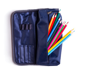 pencil case with pencils