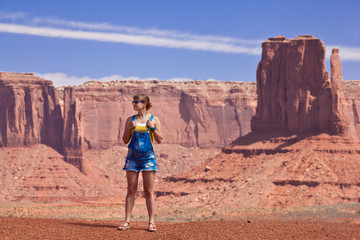 USA - girl in Monument valley tribal park