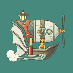 Cartoon steampunk styled flying airship with baloon and