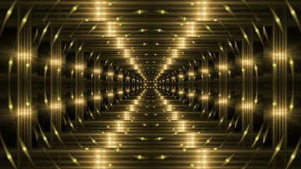 abstract loop motion background, kaleidoscope gold light