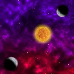 Space scenario: nebula and the star with planets in the front