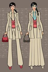 Two lovely trendy girlst.Fashion Illustration.Lettering decor