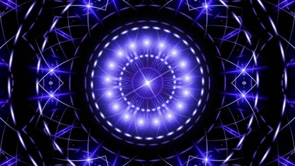 abstract loop motion background, kaleidoscope blue light