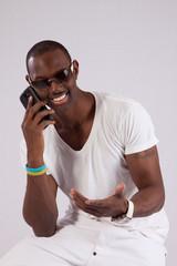 Black man talking on cell phone