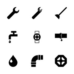 Vector black plumbing icons set