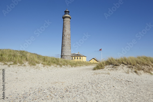 canvas print picture Grenen (Skagen, Dänemark) - Grauer Leuchtturm