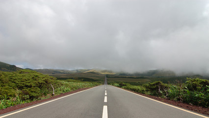 Road between the volcanoes