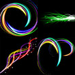 set Blurry abstract lined light effect background. with space