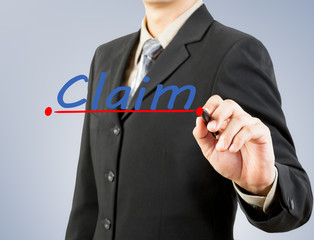 businessman hand drawing line claim insurance