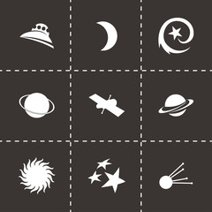 Vector black space icons set