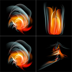 Set Burn flame fire  abstract background with place for your