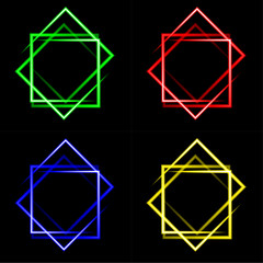 set of multicolored neon square background with place for your