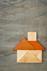 abstract tangram house