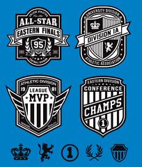 Athletic crest emblem set