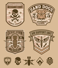 Desert military emblem patch set