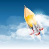 Rocket launch. Creative start up poster. poster