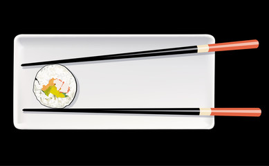 Vector of SuShi on white plate with chopstick on black backgroun
