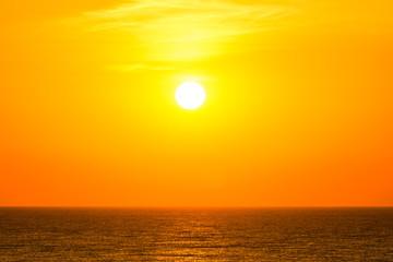 Orange Sunrise Sky Over The Sea