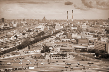 City of Moscow. Industrial zone, railroad. Photo toned in sepia