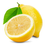 juicy lemons isolated on the white background poster