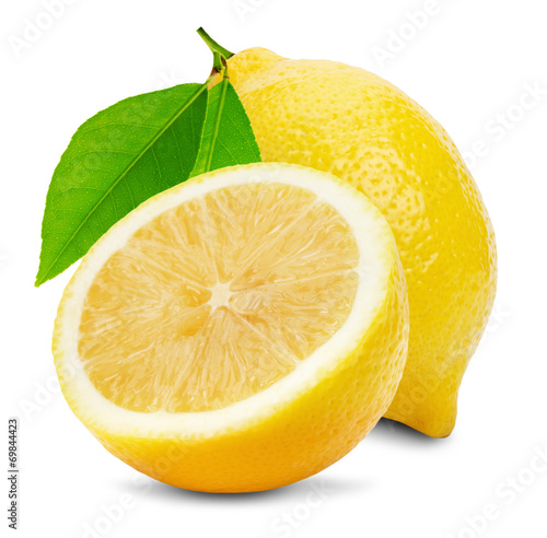 Canvas Vruchten juicy lemons isolated on the white background