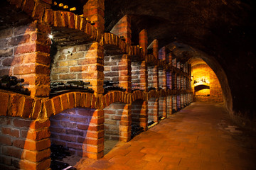 Wine cellar with many kinds of bottles
