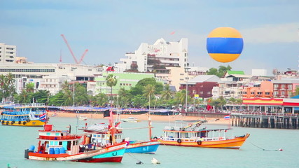ships on pier in Pattaya city, Thailand