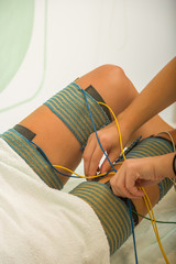 female patient receiving electro threrapy beauty treatment