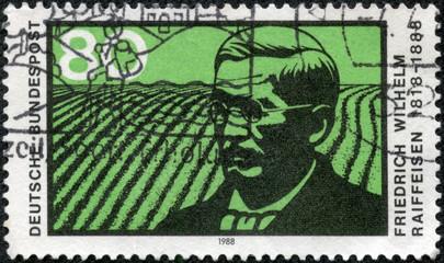 stamp printed in the Germany shows Friedrich Wilhelm Raiffeisen