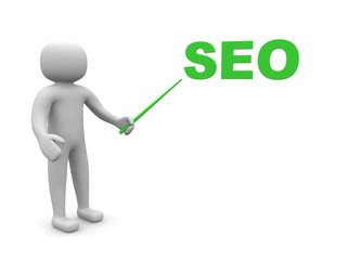 3d people - man, person pointing a SEO concept. 3d